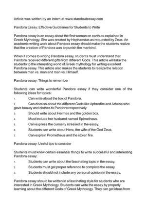 Calamo  Pandora Essay Effective Guidelines For Students To Write Pandora Essay Effective Guidelines For Students To Write