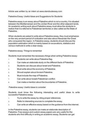 Palestine Essay: Useful Ideas and Suggestions for Students