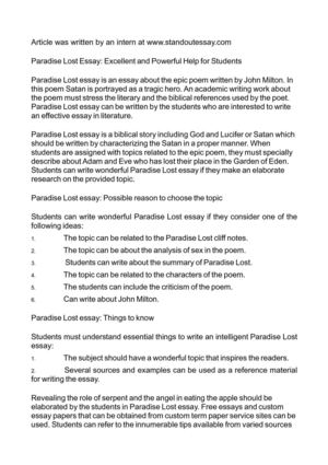 Calamo  Paradise Lost Essay Excellent And Powerful Help For Students Paradise Lost Essay Excellent And Powerful Help For Students