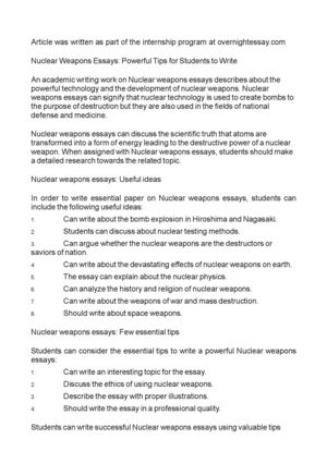 Nuclear Weapons Essays: Powerful Tips for Students to Write