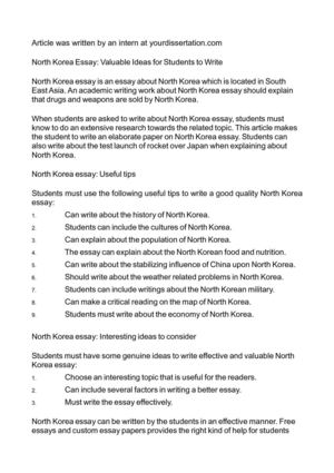 North Korea Essay: Valuable Ideas for Students to Write