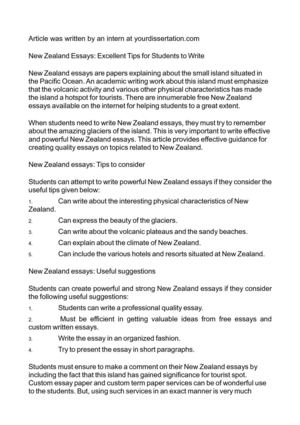 New Zealand Essays: Excellent Tips for Students to Write