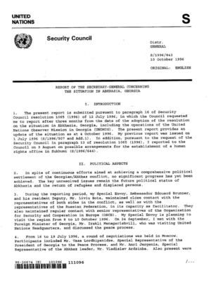 Report of the SG, 10 October 1996