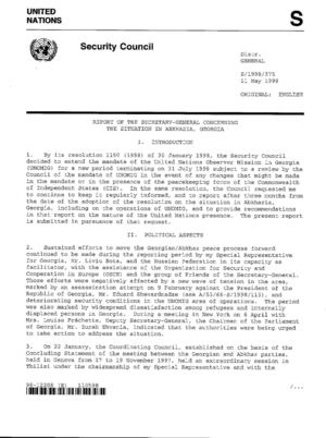 Report of the SG, 11 May 1998