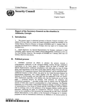 Report of the SG, 13 January 2003