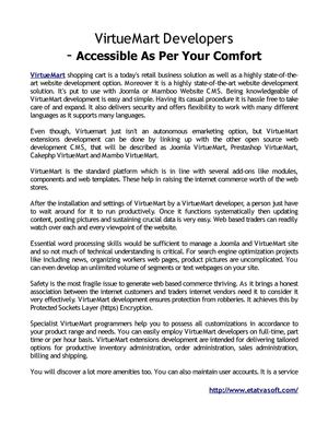 VirtueMart Developers - Accessible As Per Your Comfort