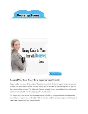 Loans at Your Door- Short Term Loans for Cash Security