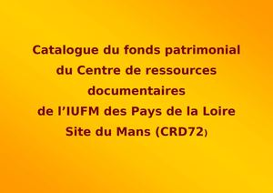 catalogue fonds patrimonial Centre de ressources documentaires Le Mans