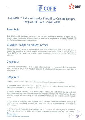 Avenant n° 3 à l'accord collectif relatif au CET EDF SA du 02 avril 2008