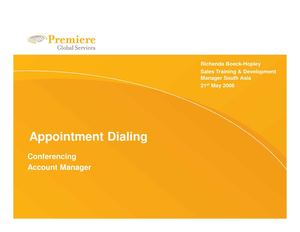 Appointment dialing - Conferencing BDM