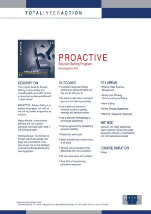 PROACTIVE - Solution Selling Program for PGi