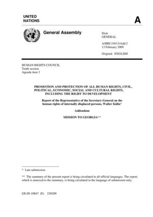 UN Human Rights Council, Report of Mr. Walter Kalin, 13 February, 2009