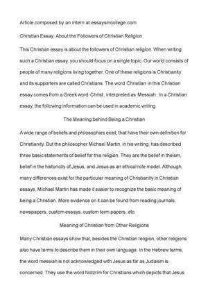 Calamo  Christian Essay About The Followers Of Christian Religion Christian Essay About The Followers Of Christian Religion Sample Essays High School Students also Examples Of Essays For High School  Essay Thesis Statement