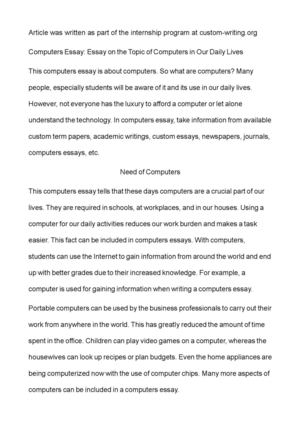 Essay Describing A Place Computers Essay Essay On The Topic Of Computers In Our Daily Lives Choice Essay Example also Hills Like White Elephants Essays Calamo  Computers Essay Essay On The Topic Of Computers In Our  Malcolm X Autobiography Essay