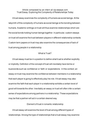Persuasive Essay Paper Essay About Trust Example Of An Essay Paper also Compare And Contrast Essay High School Vs College Essay About Trust  Barcafontanacountryinncom Application Writing Service