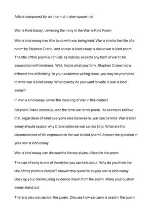 Private High School Admission Essay Examples War Is Kind Essay Unveiling The Irony In The War Is Kind Poem Business Plan Writers In Minnesota also Writing Service C Calamo  War Is Kind Essay Unveiling The Irony In The War Is Kind Poem Research Writing Companies