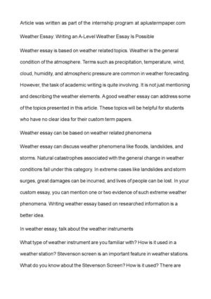 Calamo  Weather Essay Writing An Alevel Weather Essay Is Possible Weather Essay Writing An Alevel Weather Essay Is Possible Book Report Helper also Modest Proposal Essay Ideas  How To Write An Essay For High School Students