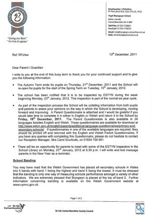 13th December 2011 Letter to Parents - Banding & Estyn Questionnaire