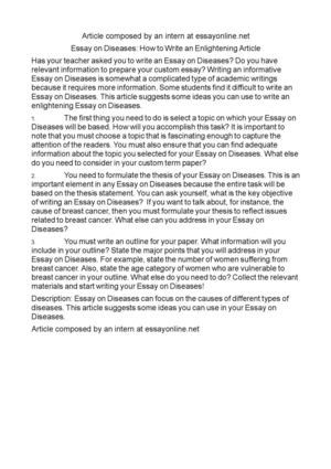 How To Write An Essay High School Essay On Diseases How To Write An Enlightening Article Business Plan Writers In Nyc also How To Write A Thesis Statement For A Essay Calamo  Essay On Diseases How To Write An Enlightening Article High School Essay