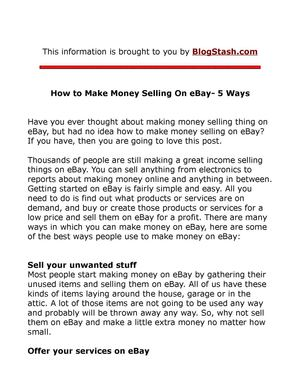 How to Make a Living Selling On eBay
