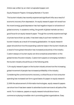 Calaméo - Equity Research Papers: Emerging Markets in Tourism