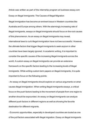 Illegal immigrants in the us essay writers