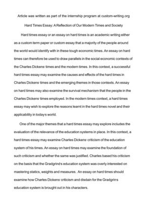 Calamo  Hard Times Essay A Reflection Of Our Modern Times And Society Hard Times Essay A Reflection Of Our Modern Times And Society Health Issues Essay also Examples Of Persuasive Essays For High School  Narrative Essay Examples High School