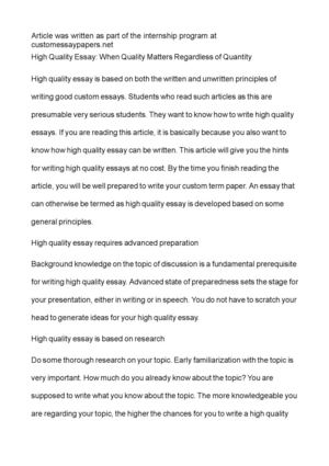 How To Write A Good Thesis Statement For An Essay High Quality Essay When Quality Matters Regardless Of Quantity Writing A Proposal Essay also Japanese Essay Paper Calamo  High Quality Essay When Quality Matters Regardless Of  Term Papers And Essays