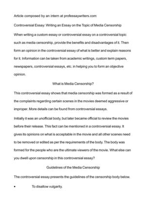Calamo  Controversial Essay Writing An Essay On The Topic Of  Controversial Essay Writing An Essay On The Topic Of Media Censorship Into The Wild Essay Thesis also Business Plan Writers Houston Tx  General Essay Topics In English