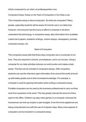 Essay On Health Care Computers Essay Essay On The Topic Of Computers In Our Daily Lives Business Argumentative Essay Topics also What Is A Thesis Statement In A Essay Calamo  Computers Essay Essay On The Topic Of Computers In Our  Essay Paper Writing Services