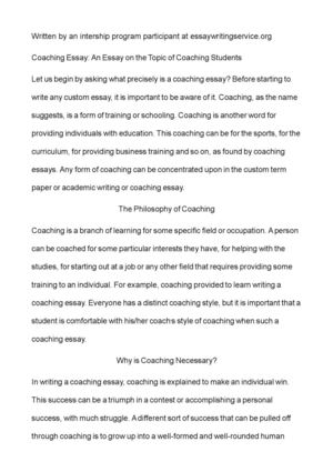 Proposal Essay Topic List Coaching Essay An Essay On The Topic Of Coaching Students Research Proposal Essay Example also Example Of An Essay Paper Calamo  Coaching Essay An Essay On The Topic Of Coaching Students Types Of English Essays