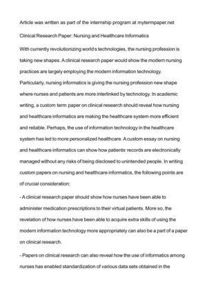 outline for healthcare research paper