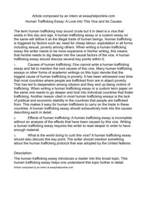 Calamo  Human Trafficking Essay A Look Into This Vice And Its Causes Human Trafficking Essay A Look Into This Vice And Its Causes Computer Science Essay Topics also Prfessional Writer For Student  Essay Writing Examples For High School