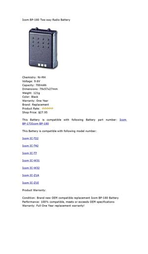 Calaméo - Icom BP-180 Two way Radio Battery Market price