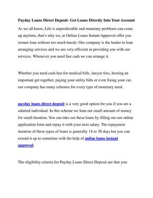 Calameo Payday Loans Direct Deposit Get Loans Directly Into Your Account