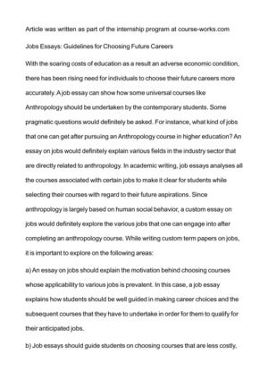 Example Of An Essay With A Thesis Statement Jobs Essays Guidelines For Choosing Future Careers Is Psychology A Science Essay also Synthesis Essay Ideas Calamo  Jobs Essays Guidelines For Choosing Future Careers Term Paper Essay