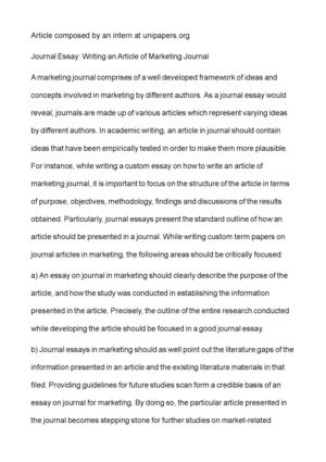 High School Admission Essay Journal Essay Writing An Article Of Marketing Journal Essays Topics In English also Wonder Of Science Essay Calamo  Journal Essay Writing An Article Of Marketing Journal High School Personal Statement Sample Essays