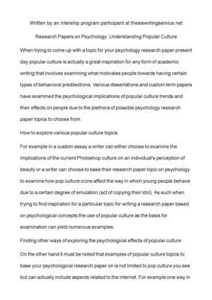 popular culture research paper topics