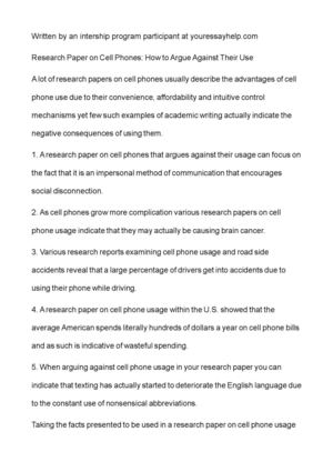 cell phones research paper