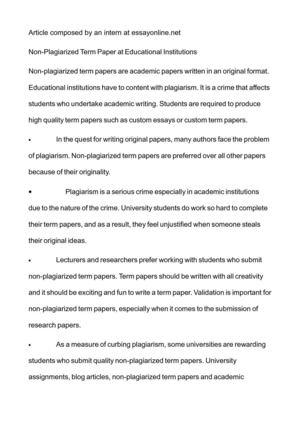 term paper help 100% non plagiarized