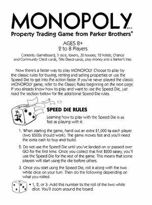 Calamo Monopoly Speed Die Game
