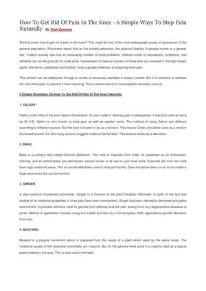 How To Get Rid Of Pain In The Knee - 6 Simple Ways To Stop Pain Naturally