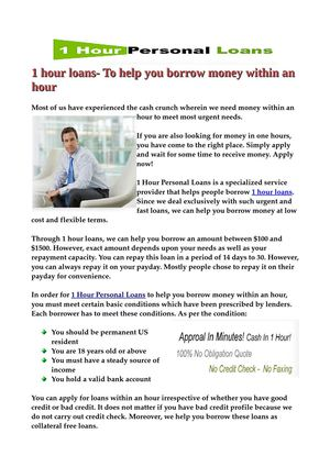 1 hour loans- To help you borrow money within an hour