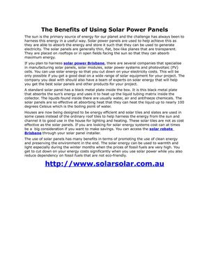 The Benefits of Using Solar Power Panels