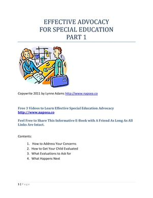 Effective Advocacy for Special Education Part 1