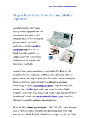 Shop at Block Scientific for the Latest Medical Equipment