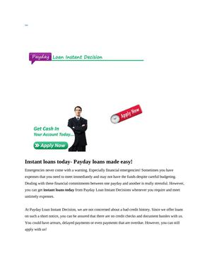 Instant loans today- Payday loans made easy!
