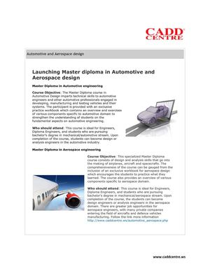 Launching Master diploma in Automotive and Aerospace design