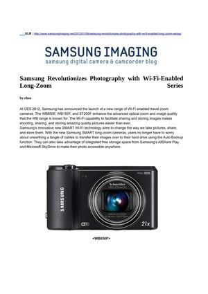 Samsung Revolutionizes Photography with Wi-Fi-Enabled Long-Zoom Series