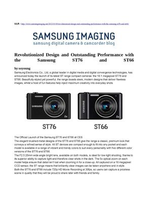 Revolutionized Design and Outstanding Performance with the Samsung ST76 and ST66